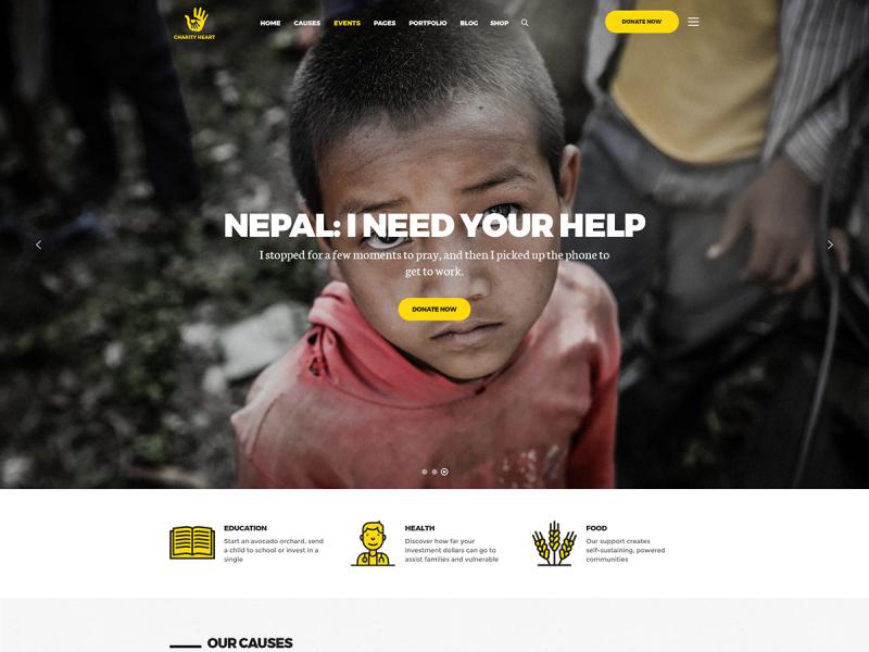 Wohltätigkeitsorganisation Website